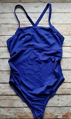 New Ex Branded Maternity Cross Back Straps Square Neck Swimsuit in Blue