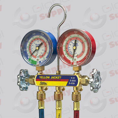 "Yellow Jacket 42004 - Series 41 Manifold, 3-1/8"" Gauges w/ Hoses, R22/404A/410A"