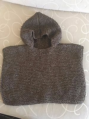 Hand Knitted Baby Boy/ Girl Poncho No Sleeves -Brown - 12 To 18 Months Old- New