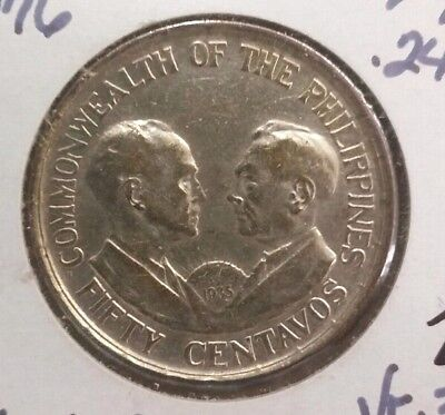 1936 Philippines 50 Centavos RARE COIN IN NICE CONDITION!!