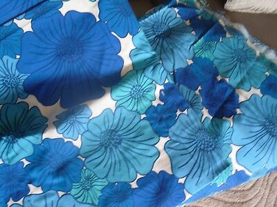 Two Pieces Of 1970's Blue Floral Flower Power Fabric Campervan? Retro?