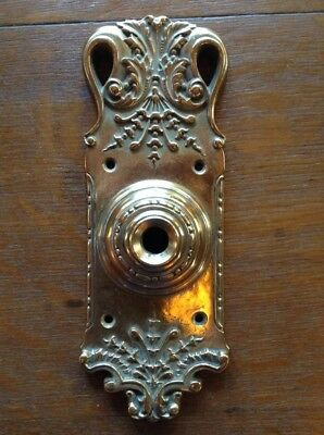 Antique Russell & Erwin Cast Brass Doorbell Plate / Cover