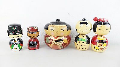 5 Piece Asian Wood Carved Figures Dolls Stacking Bowls