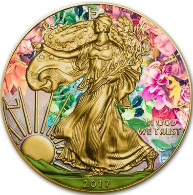 2016 1 Oz Silver $1 AMERICAN EAGLE AT SUMMER Coin WITH 24K GOLD GILDED.