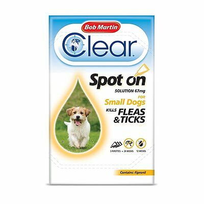 Bob Martin Clear Fipronil Spot on 3 Tube for Small Dog x 3 pack