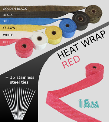 UNIVERSAL CAR BIKE EXHAUST HEAT WRAP with ties-15 METRE RED 15M-RED-HYN1