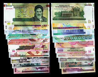 IR,100 to 100,000 Rials Full Set of 10 Banknotes UNC Uncirculated ~ Collection