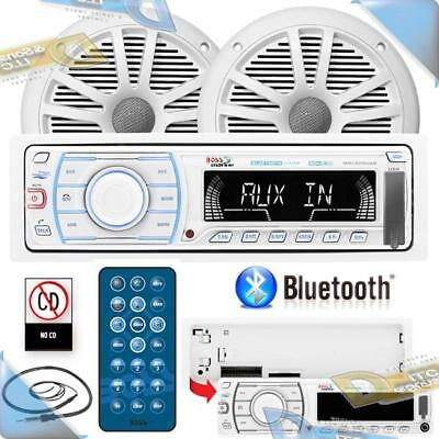 NEW BOSS Marine/Boat In-Dash Mechless USB/SD/AUX Stereo w/Bluetooth/Speakers