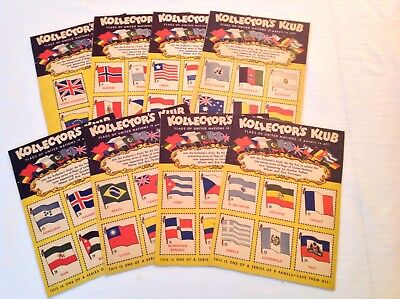 Quaker Oats Flags Of United Nations Cereal Box Backs Nr.Set (8/9) c.1947 Clean!!