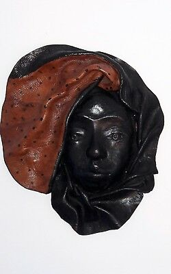 Hand Crafted Leather Mask Wall Hanging Beauty African Woman *Free Ship*