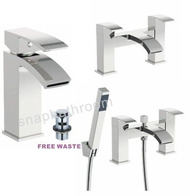 Modern Bathroom Tap Square Waterfall Basin Sink Bath Filler Shower Mixer Tap Set