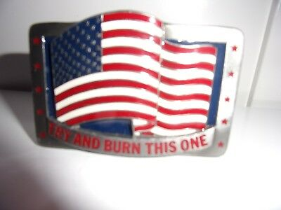 """C & J 1991 Belt Buckle """"TRY AND BURN THIS ONE"""" 1453"""