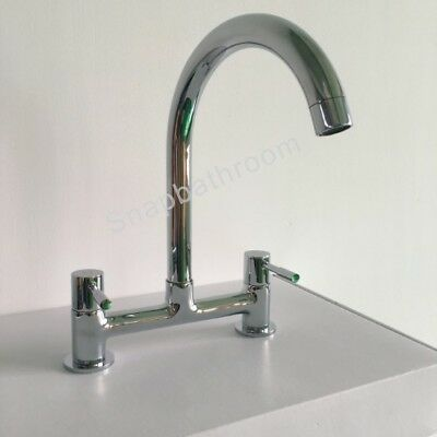 New Dual Lever Kitchen Sink Deck Mixer Chrome Tap 1/4 Turn 2 Hole 180Mm