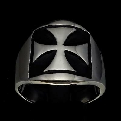 Sterling Silver Medieval Crusader Mens Ring Iron Cross Seal Black Any Size