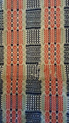 Antique Vtg Loom Woven Blanket-Coverlet Cutter - 3 Tone Colors Blue Coral Green