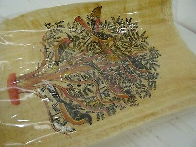 Antique Vintage Rice Paper Painting Birds Tree signed