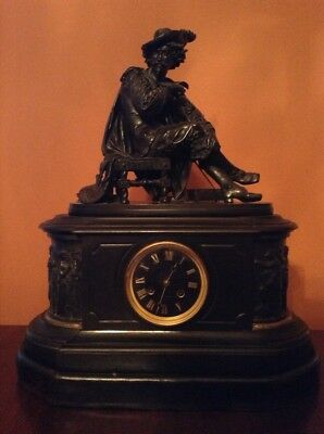Barbedienne / Tiffany & Co. Marble & Bronze Mantle Clock, Salvator Rosa, Signed