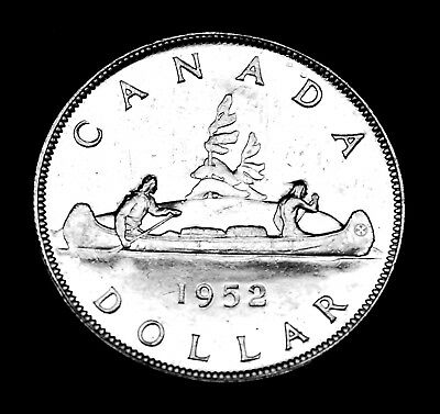 1952 silver Canadian $1 coin that shows all the details.  Great coin.