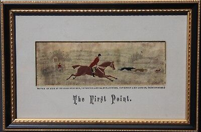 """Stevengraph T. Stevens Silk Woven Picture """"The First Point"""" Hare Coursing 1880s"""