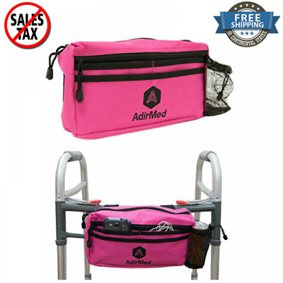 Wheelchair Rollator Walker Pink Pouch Cycle Scooter Storage Bag Mesh Cup Holder