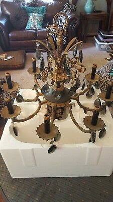 Vtg Ornate c1950 Spanish Brass 8 Arm Light Chandelier W 51 Smoke Crystal PRISMS