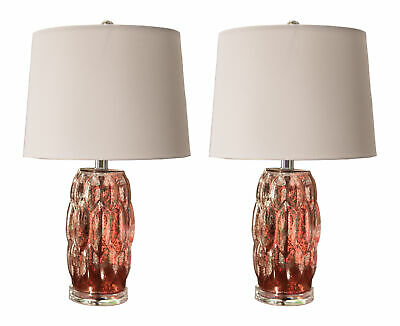 Kings Brand Silver Pink Glass With White Fabric Shade Table Lamps, Set of 2