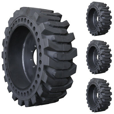 Set of 31x6x10 Prowler Solid Pro Flex Skid Steer Tires and Wheels - Flatproof