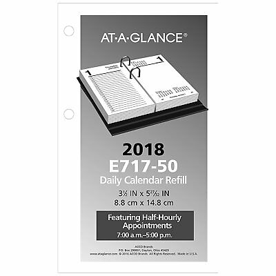 """2018 At-A-Glance E717-50 Daily Calendar Refill 3-1/2x5-27/32"""", Base Not Included"""