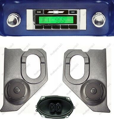 1964-66 Chevy Truck Stereo Radio + Pioneer  Kick Panels + Dash Speaker 630-PKD