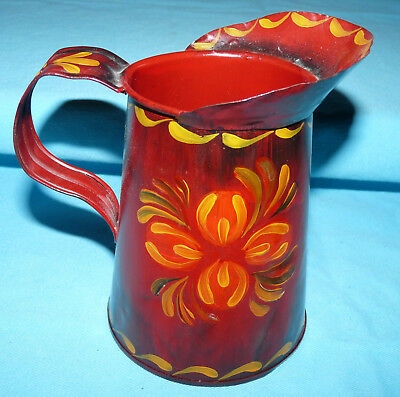Vtg Antique~METAL MILK~SYRUP PITCHER~Old~Repainted 1970s TOLEWARE~Ruth SHERTZER