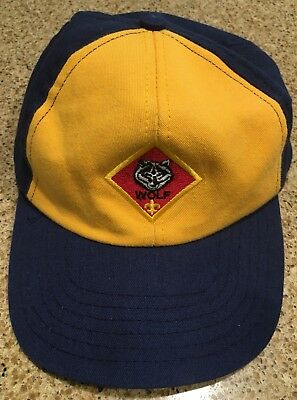 Boy Scouts of America BSA Yellow & Blue Baseball Hat Cap Wolf OSFM S/M SnapBack