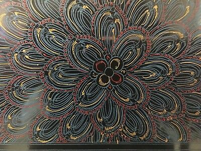 Vintage Burmese Lacquer Lacquerware Tray Black, blue, Yellow red Floral Burma