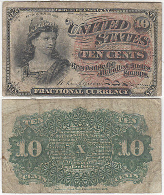 Fractional Currency 4th Issue 10 Cent Fine FR 1258 Large Seal