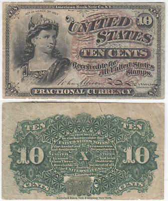 Fractional Currency 4th Issue 10 Cent Fine Details FR 1259 Large Seal Blue End