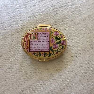 """Enamel floral box """"Daughter"""" from Halcyon Days England"""