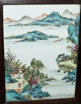 Antique Chinese Famille Rose Porcelain Plaque on Wood Stand