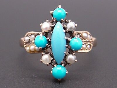 10k Yellow Gold Turquoise Seed Pearl Flower Cluster Ring Size 6.5 Vintage