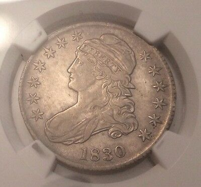 """1830 50 Cent - Capped Bust Half Dollar 50c """"Small 0"""""""