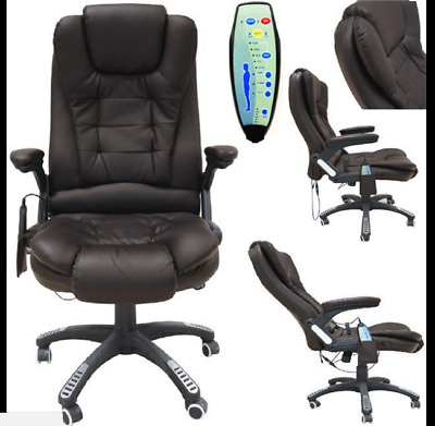 Foxhunter 6 Point Massage Office Computer Chair Luxury Leather Reclining Brown S