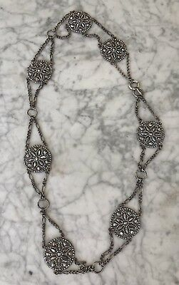 """Beautiful Antique Vintage Edwardian French Faceted Cut Steel Belt 37"""" Jewelry"""