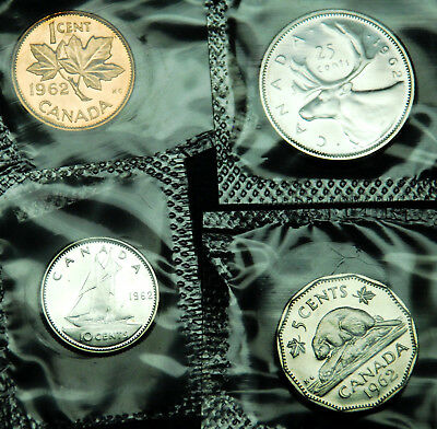 1962 prooflike Canadian coins in original mint plio: 1¢, 5¢, 10¢ and 25¢