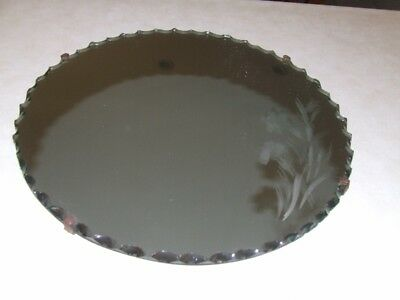 Vintage Round Pie Crust/Scalloped edge Art Deco Wall Mirror With Flowers