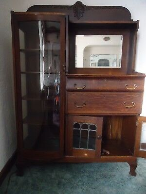 Antique original oak China cabinet&sideboard C.1800's-Curved glass-leaded doors.