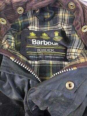 Barbour Border Jacket Wax cloth Rain Hunting Fishing green men's large England