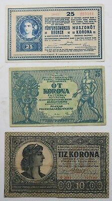 Hungary Early Notes Lot 5 ,10 ,25 Early Issues Bank Notes