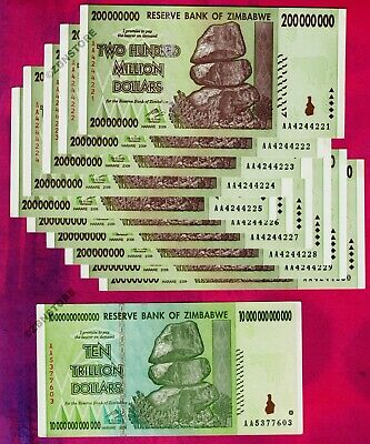 10 x 200 Million + 10 Trillion Zimbabwe Dollars Banknotes AA 2008 Almost UNC Set