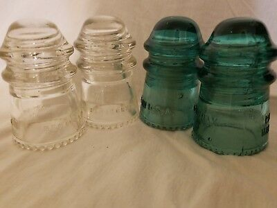 Lot of 4 Antique Vintage Mixed Clear and Blue Glass Insulators Hemingray 9