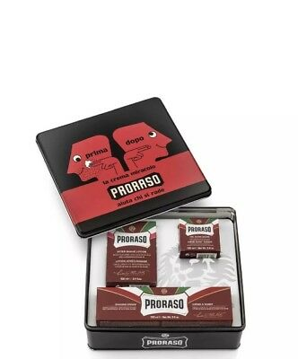 NEW PRORASO VINTAGE KIT RED Sandalwood Shaving Kit/ Creams-Balm Great Gift Idea