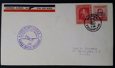 RARE 1937 Philippines 1st Flight Manila to Hong Kong Cover  ties 2 stamps to USA