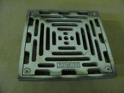 """MIFAB S6PS-3 6"""" Square Floor Drain Strainer 4"""" Threaded Shank / Stainless Steel"""